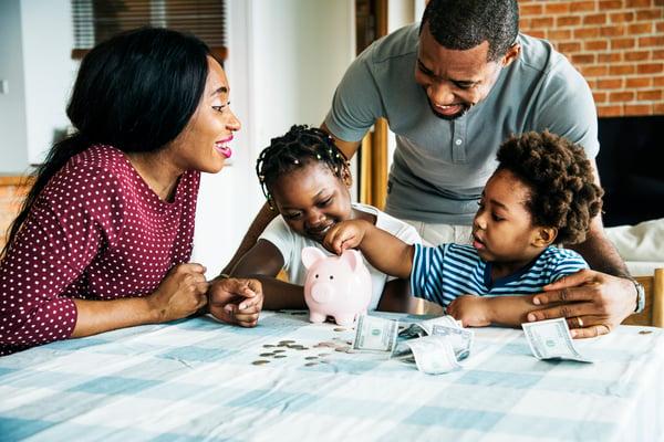 family saving money frugal
